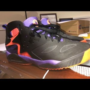 Orange purple and black Nike Huarache